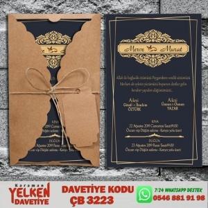 1000 Adet Burgu Kraft Zarflı Davetiye Modeli