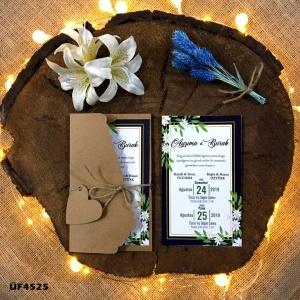 1000 Adet Flower Kraft Zarflı Davetiye Modeli